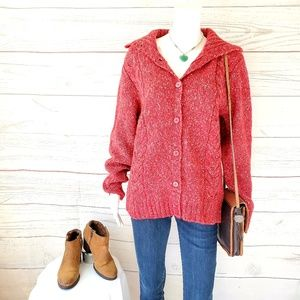 L.L. Bean pretty cable knit warm and cozy cardigan